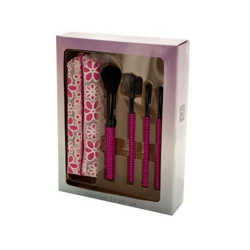 Jeweled Cosmetic Brush Set with Stylish Case ( Case of 8 )