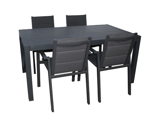 San Remo Sling Portsea  5pc GUNMETAL 1400 x 700mm - robcousens Outdoor Furniture Factory direct
