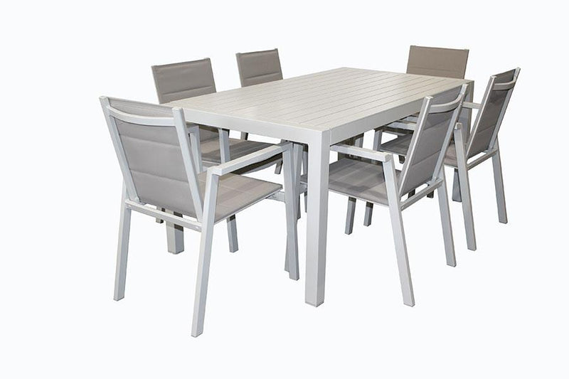 San Remo Portsea Sling 7pc DOVE GREY 1600 x 900mm - robcousens Outdoor Furniture Factory direct