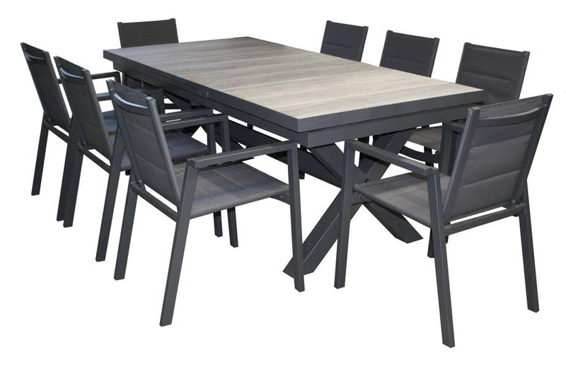 San Remo 9pc Extension Ceramic Table set - robcousens Outdoor Furniture Factory direct