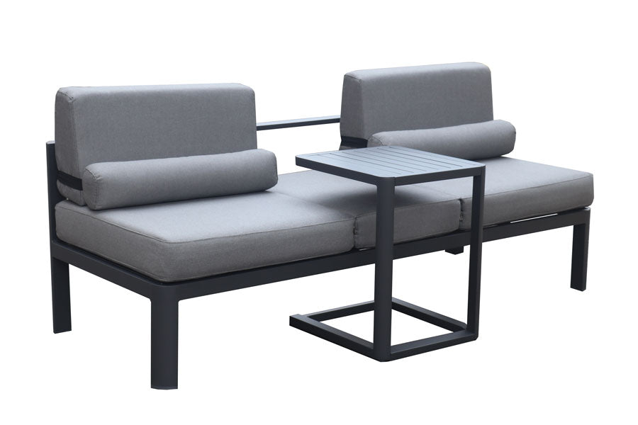 Torquay 2pc Sun Lounge /Sofa with Side table Gunmetal