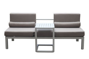 Torquay 2pc Sun Lounge /Sofa with Side table Dove Grey