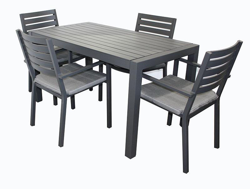Trieste 5pc Rectangle Dining-Gunmetal - robcousens Outdoor Furniture Factory direct