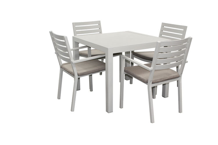 Trieste 5pc Square Dining-Dove Grey