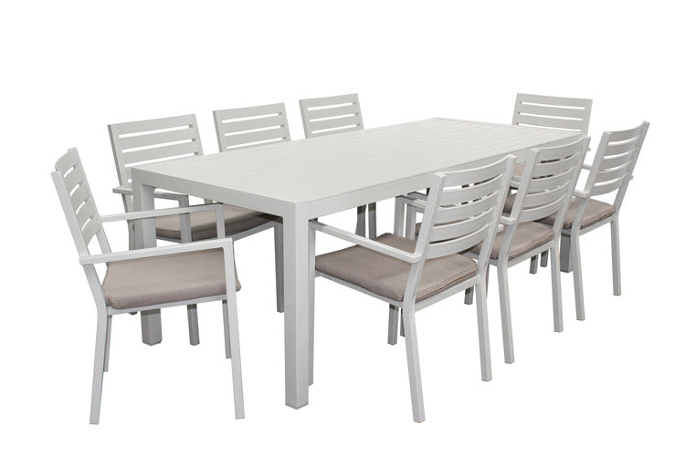 Trieste 9pc Dining Set- Dove Grey