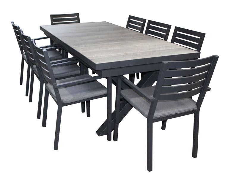 Trieste Cushion 9pc Extension Ceramic Table set - robcousens Outdoor Furniture Factory direct
