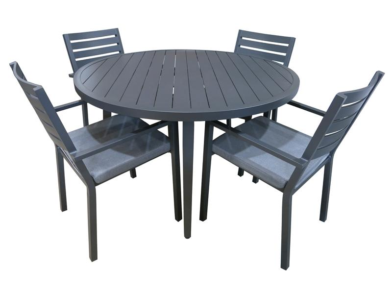 Trieste 5pc Round Dining- Gunmetal - robcousens Outdoor Furniture Factory direct