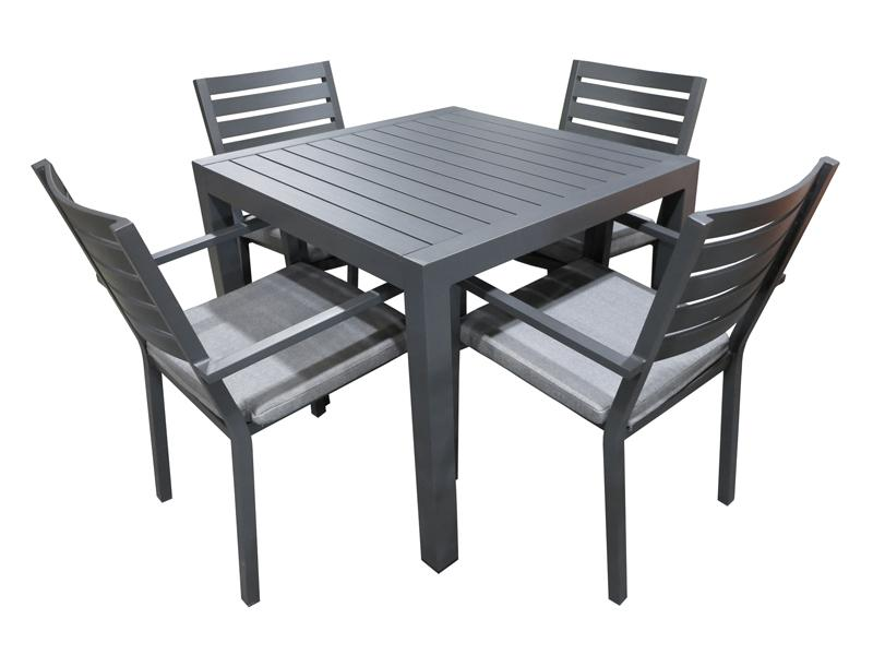 Trieste 5pc Square Dining-Gunmetal - robcousens Outdoor Furniture Factory direct