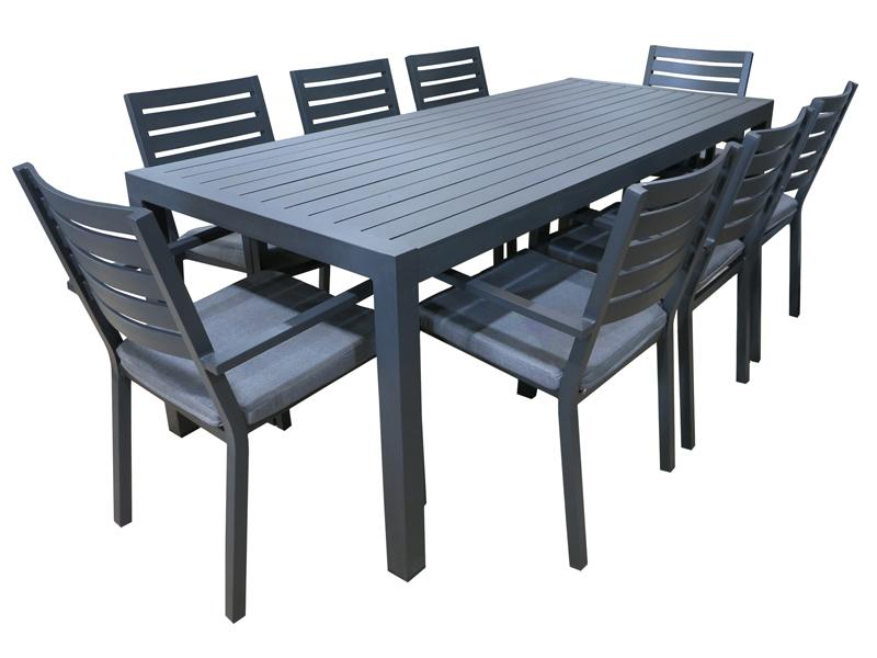 Trieste 9pc Dining Set- Gunmetal - robcousens Outdoor Furniture Factory direct