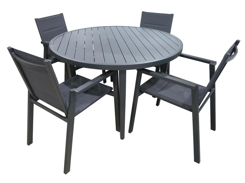 San Remo Sling Portsea 5pc Gunmetal 1200mm Round - robcousens Outdoor Furniture Factory direct
