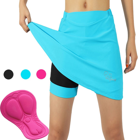 3 Colors ARSUXEO 2 In 1 Women's Cycling Shorts with Gel Padded Compression Elastic Breathable Bike Bicycle Skirts with Underwear