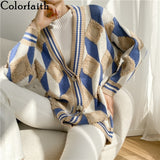 Colorfaith New 2021 Women's Sweaters Winter Spring Fashionable Buttons Checkered Oversize Cardigans Diamond Knitwear SWC1040