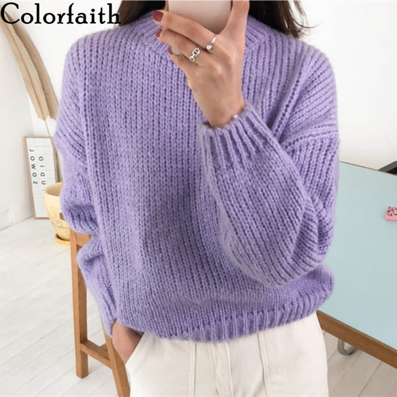 Colorfaith New 2021 Winter Spring Women's Sweaters Casual Minimalist Fashionable Korean Style Knitted Sweater Pink Purple SW5073