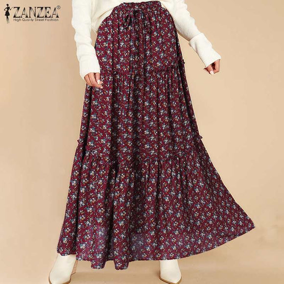 Plus Size Women's Spring Maxi Skirts Printed Stylish High Waist Sundress 2021 ZANZEA Long Vestidos Female Casual Floral Robe 7