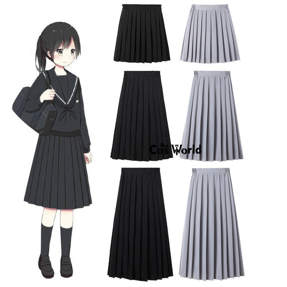 XS-5XL Solid Colors Girl's Japanese Summer High Waist Pleated Skirts Women's Dress For JK School Uniform Students Cloths