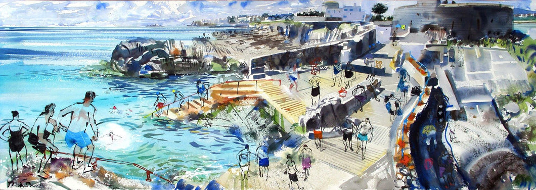 Summer Swim Blue Panorama 2 For Sale - John Short Irish Visual Artist