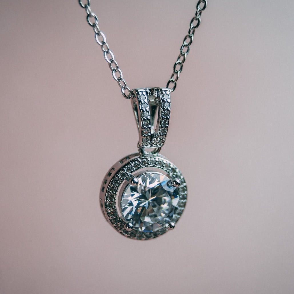 Platinum Halo Necklace