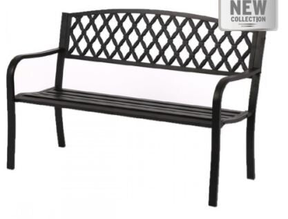 Black Metal Cross Back Bench