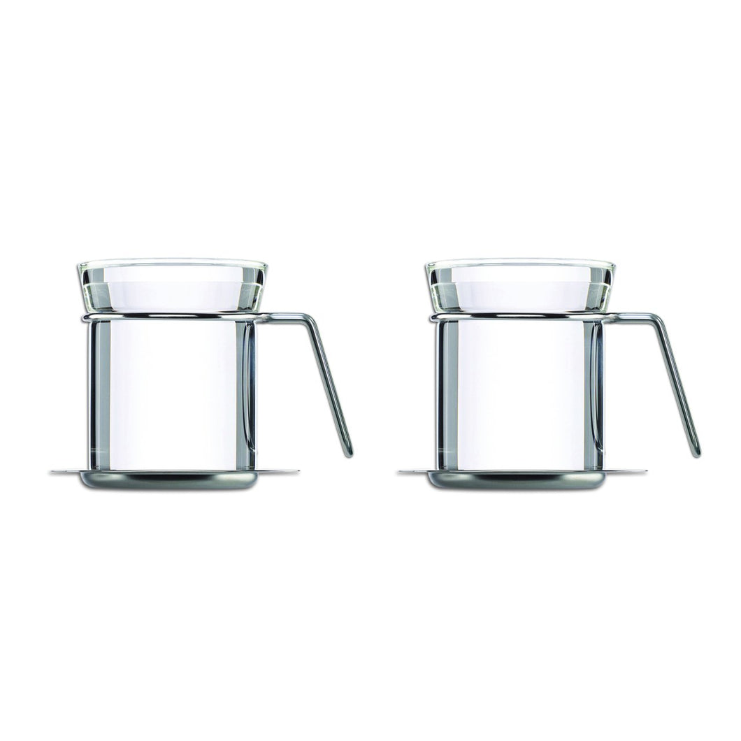 Ellipse Tea Beaker Set with Stainless Saucers