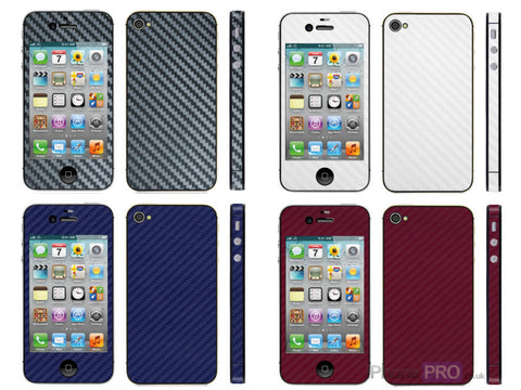 SkinPro Carbon Fibre Vinyl Skin Wrap For iPhone 4S