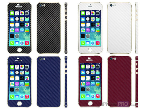 SkinPro Carbon Fibre Vinyl Skin Wrap For iPhone 5S