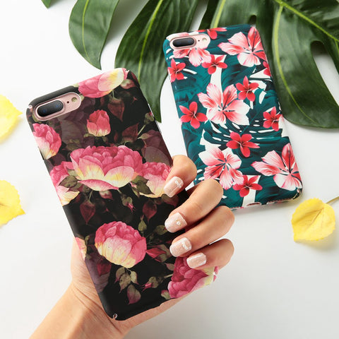 Retro Floral Print Protective Case for iPhone