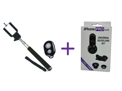 The Selfie Bundle - Bluetooth Selfie Stick Kit And The Selfie Lens