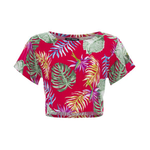 clothing wholesale, tops, wholesale, women wholesale Cropped Basic, Tropical, Eco Rayon, Tee Shirt Top, Wholesale