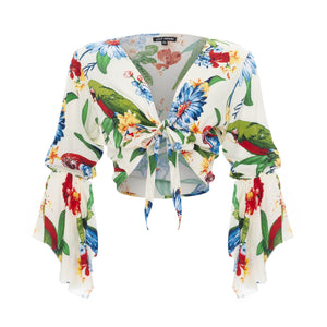 clothing wholesale, tops, wholesale, women wholesale Cropped Gypsy, Tropical, Eco Rayon, V Neck, Long Flounce Sleeve Top, Wholesale