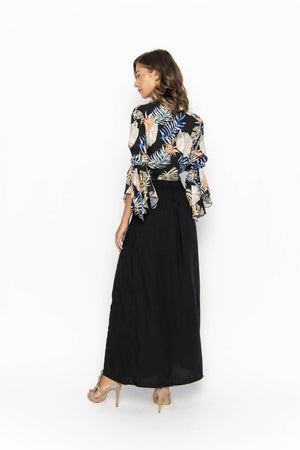 tops, womens Cropped Gypsy, Tropical, Eco Rayon, V Neck, Long Flounce Sleeve Top