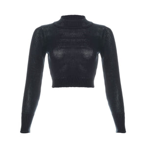 tops, womens Sibuya, Organic Cotton Knitted, Long Sleeved Crop Top