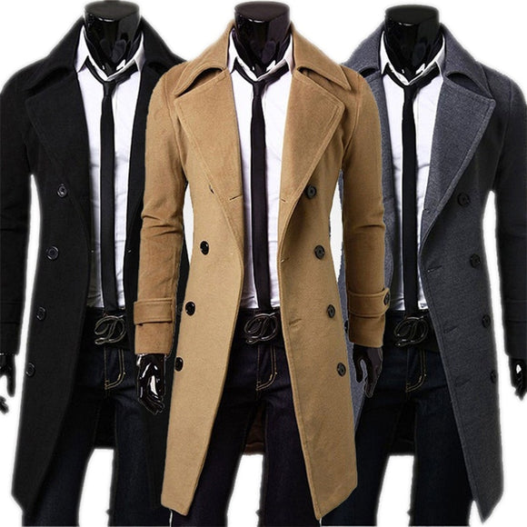 Fashion Brand Autumn Jacket Long Trench Coat Men's High Quality Self-cultivation Solid Color Men's Coat Double-breasted Jacket
