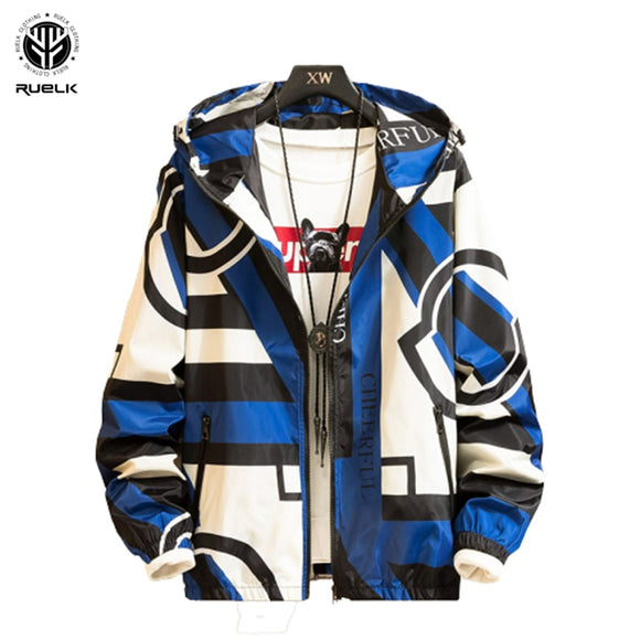 RUELK 2020 Spring And Autumn Men's Fashion Casual Geometric Printing Hooded Jacket Men's Trend Coat Cool Windbreaker M-6XL