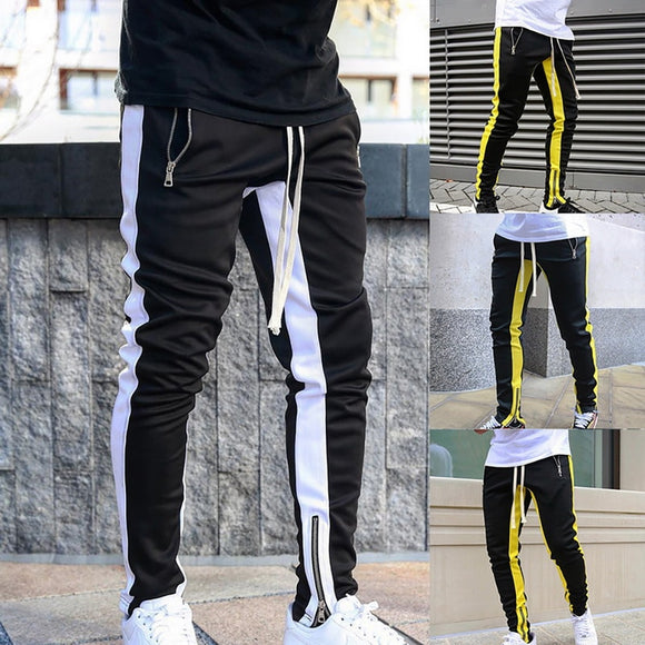 2020 Men's Pants Joggers Men Casual Zipper Sports Running Fitness Trousers Men Gym Sports Jogger Pants Outdoor Streetwears