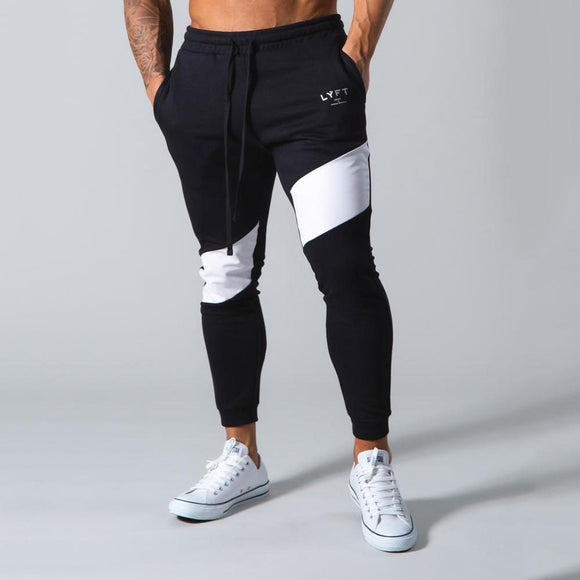 Muscle Brothers Running Fitness Pants Men's Casual Pants Skinny Trousers Joggers Sweatpants Fashion Splicing Cotton Trackpants