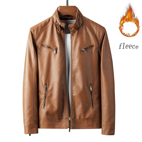 2021 Autumn and Winter Leather Jacket Men's Coat New Style Fashionable Handsome Cultivate One's Morality Locomotive 4Xl