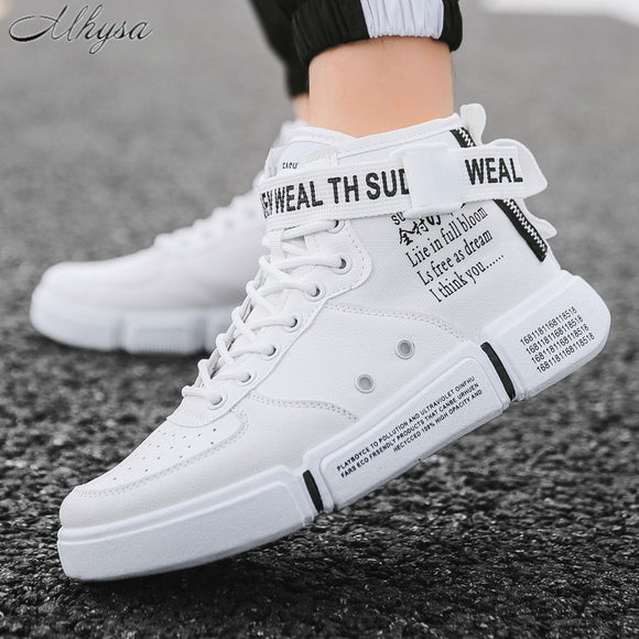 2020 Autumn New Men's Casual Shoes Fashion High-Top PU Leather Sneakers Non-Slip Comfortable Shoes Zapatos De Hombre D1518
