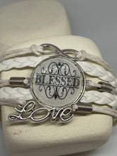 "Load image into Gallery viewer, White Leather Bracelet | ""Blessed"" 