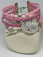 "Load image into Gallery viewer, Pink leather bracelet | ""Blessed"" 