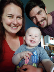 Owner, Jena (left), pictured with spouse (Adam) and son (Lochlan)