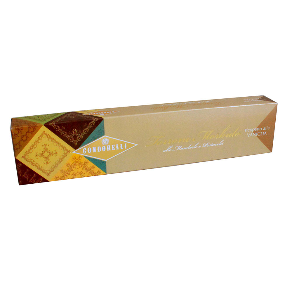 Almond and Pistachio Nougat Covered with Vanilla flavoured Chocolate 150g Bar