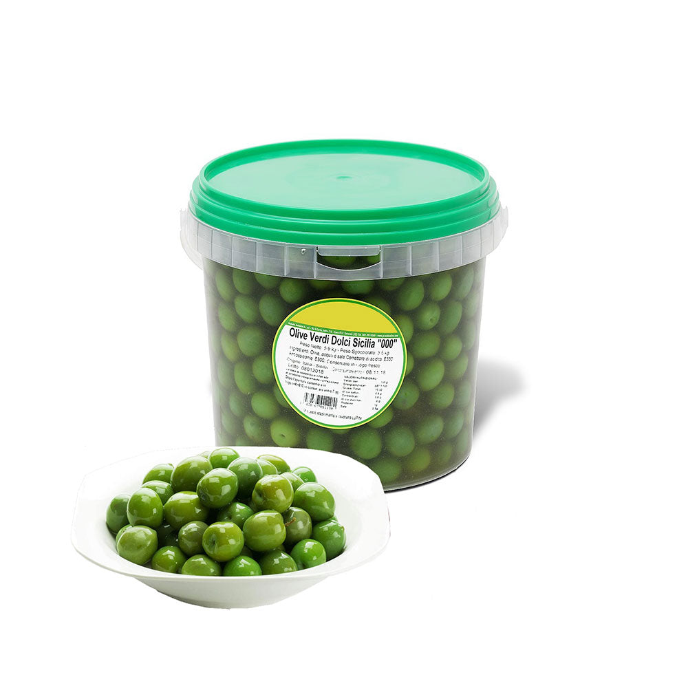 Green Whole Sicilian Olives Nocellara 5KG PAIL