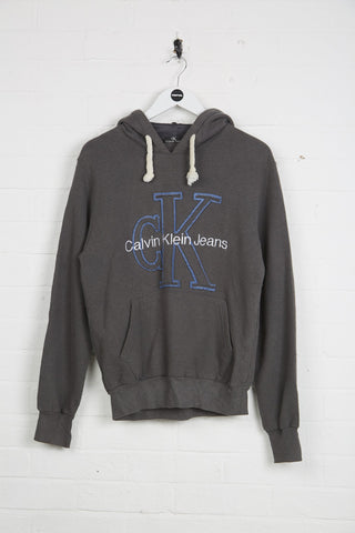 Vintage Calvin Klein Hoodie - Large Grey Cotton - Thrifted.com