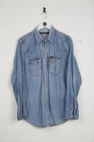 Vintage Lee Denim Shirt - Small Blue Cotton - Thrifted.com