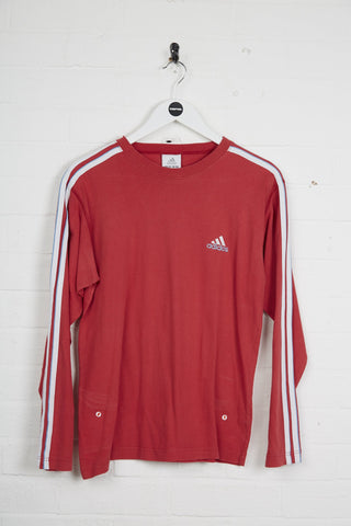 Vintage Adidas Long Sleeve T-Shirt - Small Red Cotton - Thrifted.com