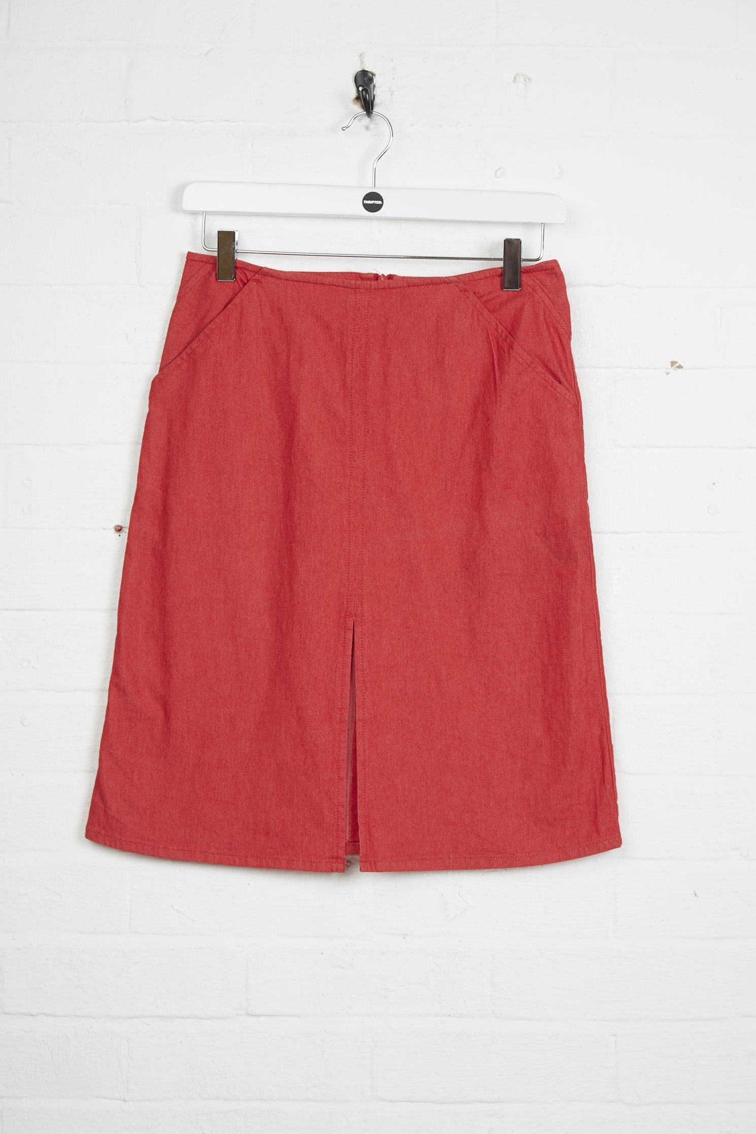 Vintage Armani Skirt - 2XS UK 2 Red Cotton - Thrifted.com