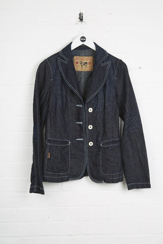 Vintage Mochino Denim Jacket - Small Blue Cotton - Thrifted.com