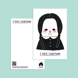 I Hate Everything - Wednesday Addams Postcard - Minifanfan