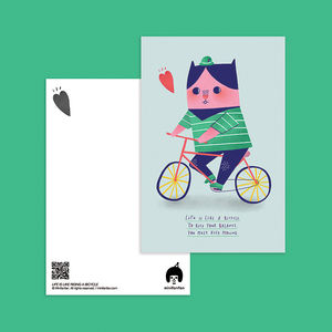 Life Is Like Riding A Bicycle Postcard - Minifanfan
