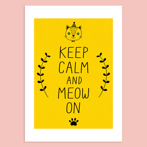 Keep Calm and Meow On Giclée Print
